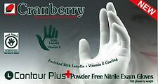 Cranberry Contour Plus Nitrile PF Exam Gloves, SMALL, Lot of 2000 Glove (20 bxs)