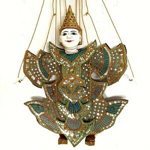 Burmese Puppet Marionette Wood Doll Asian Hand Rare Crafted Myanmar Vintage