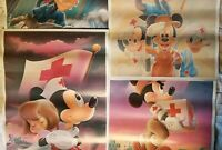 Walt Disney America Red Cross Posters Mickey Goofy Donald Minnie Set of 4