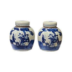 Pair Blue White Small Oriental 3 Star God Porcelain Ginger Jars ws1382