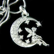 Fée w Swarovski Cristal Clochette CROISSANT LUNE étoile COLLIER Pendentif Bijoux