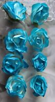 Adhesive Blue Paper Roses Flowers Card Making Scrapbooking Embellishment NEW