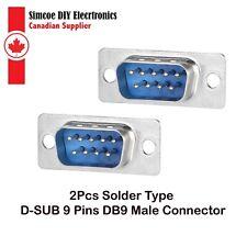 2Pcs Solder Type D-SUB 9 Pins DB9 Male Connector #8574