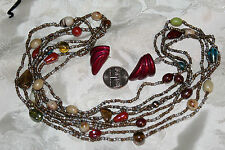 VIN FALL COLORS ART GLASS 2 STRAND NECKLACE BY EXPRESS+ POST EARRINGS NICE!