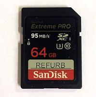 SanDisk Extreme Pro 64GB SDXC Flash Memory SD Card 95MB/s U3 Class 10