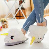 Zapatos de adulto felpa invierno hombre mujer unicornio zapatillas en casa