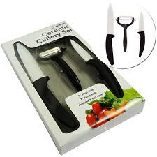 3 pc Ceramic Cutlery Set Steak Paring Knife Kit Knives Fruit Peeler Kitchen Tool