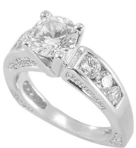 2.50ct TW Brilliant Cut Zirconia Engagement Ring  in 14K White Gold size 7.5