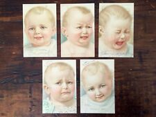 5 Antique Baby Postcards, German American Novelty Art Series, Baby's Habits