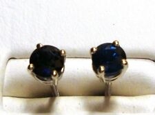 NEW 5mm TOP QUALITY Natural BLUE SAPPHIRE Stud Earrings 18k WG Screw Back