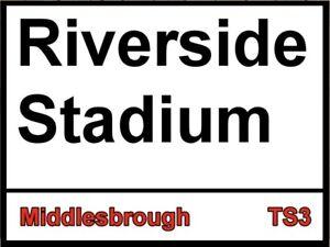 Riverside Stadium Metal Sign, Football sign, Middlesbrough sign. Retro wall sign