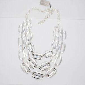Chico's signed jewelry silver tone huge cluster triple layered necklace chain