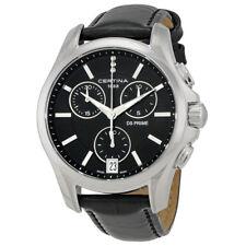 Certina DS Prime Chrono Genuine Black Leather Ladies  Quartz Watch