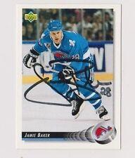 92/93 Upper Deck Jamie Baker Quebec Nordiques Autographed Hockey Card