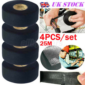 4x Harness Tape 25m Wiring Loom Insulation Adhesive Cloth Fabric Electric Tape