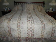 vintage ecru & tan factory made lace bed coverlet 104X107 (Fits California King)