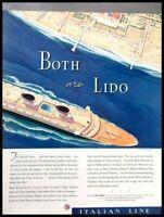 1937 Lido Venice Italy Ship Vintage Advertisement Print Art Ad Poster LG84
