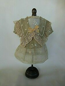 ANTIQUE VTG OLD DRESS & PETTICOAT FOR FRENCH BISQUE DOLL LACE SILK ROBE POUPÉE