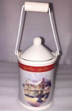 """New Thomas Kinkade Victorian Christmas lll Tiny 5.5"""" Pot Candle Holder With Lid"""