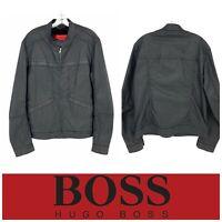 BOSS Hugo Boss Men's Sz XL Slim Waxed Cotton Seamed Cafe Racer Zip Jacket Black