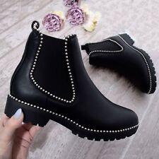 Womens Ladies Chunky Heel Ankle Boot Chelsea Studded Biker Black Gem Girls Shoes