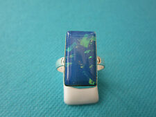 925 Silver Ring With Natural Australian Opal Triplet UK P, US 7.75   (rg2277)