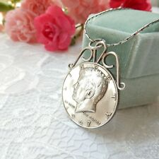 More details for vintage sterling silver mounted liberty half dollar coin medallion necklace 1967