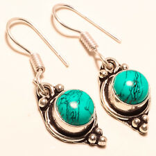 "Santa Rosa Turquoise Handmade Silver Plated Copper Earrings 2"" A195"