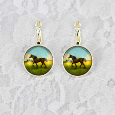 1Pair New Animal Horse Photo Glass Cabochon French Leverback Dangle Earring