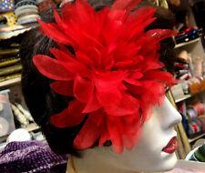 "Vintage 6"" Silk Organza Red Dahlia Czech Flower 1pc"