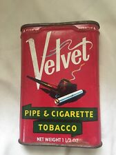 CLASSIC VELVET PIPE & CIGARETTE TOBACCO TIN CAN VINTAGE