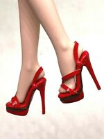 1/6 ooak Outfit Shoes Heels for Fashion Royalty NU.Face Integrity Doll Red H16