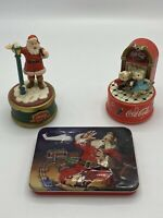 Vintage coca cola collectibles lot 2 musical figurines, and Tin of playing Cards