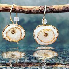 Diamond Dust Circle Clay Earrings, Handmade Glass Geometric Jewelry, Gold Trim