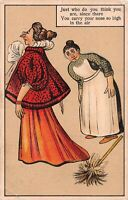 Vintage Postcard, Snooty Aloof Lady & Maid, Who Do You Think You Are Posted 1913