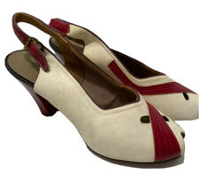 1940s Red Cream Leather Suede High Heels Peep Toe Womens Size 9.5 Vtg