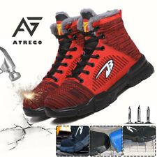 Men Winter Warm Steel Toe Cap Safety Flying Weaving Ankle Boot Fluff Lined Shoes