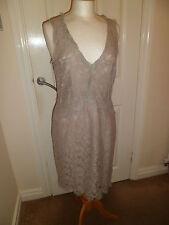 Gorgeous Day Birger & Mikkelsen Unusual Taupe Lace Dress UK 12/38