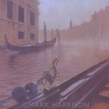 """BELLISSIMO ORIGINALE Mark Harrison """"la NEBBIA"""" Italia Venezia Gondola pittura ad olio"""