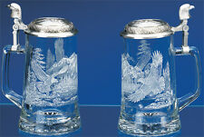 EAGLE Etched Glass German Beer Stein w/ Pewter Eagle Head Lid  Glass Beer Mug