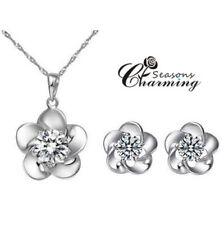 925 Sterling Silver Flower Shape Swarovski Crystals Necklace & Earrings Set