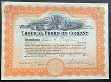 TROPICAL PRODUCTS COMPANY Stock 1925. Mexico Hemp Wood Rubber Gum Fruit