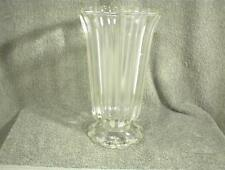 "VINTAGE CLEAR GLASS VASE 8"" TALL RIBBED SCALLOPED ROUND BASE"