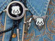 NEW AMERICA ROUTE 66 BOLO TIE AND COLLAR TIPS SET,SILVER METAL,WESTERN BIKER