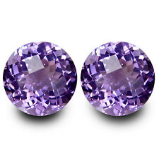 3.25Cts Genuine Natural Amethyst Round Checker Cut  8mm Pair Collection Gem