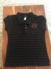 Emily The Strange Puffy Sleeve Black Striped Polo Shirt Top XL Cat Buttons