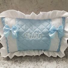 Personalised baby embroidered broderie angliase cushion pillow BABY SHOWER 💙
