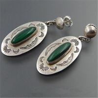Vintage Handmade 925 Silver Green Glass Party Wedding Dangle Earrings Jewelry