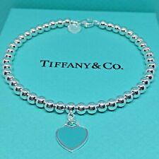 Sterling Silver Pulsera CUENTAS CORAZÓN VERDE AG 925 Genuine Tiffany & Co. bag