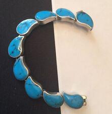 "Heavy Modernist Vintage Sterling Silver Blue Turquoise Bracelet Mexic 43g 7"" B63"